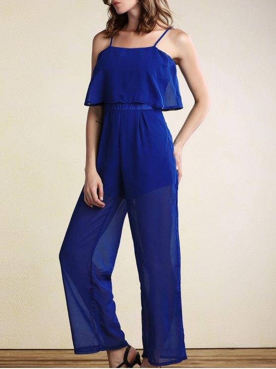 Superposée à jambe large Jumpsuit - Bleu XL