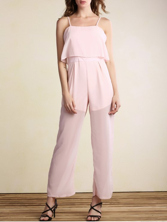 affordable Overlayed Wide Leg Jumpsuit - PINK M