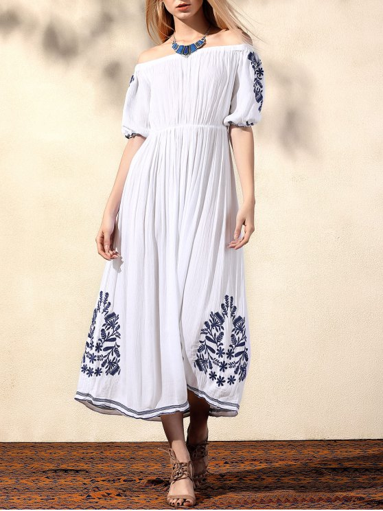 hot Embroidery Off The Shoulder Half Sleeve Dress - WHITE M