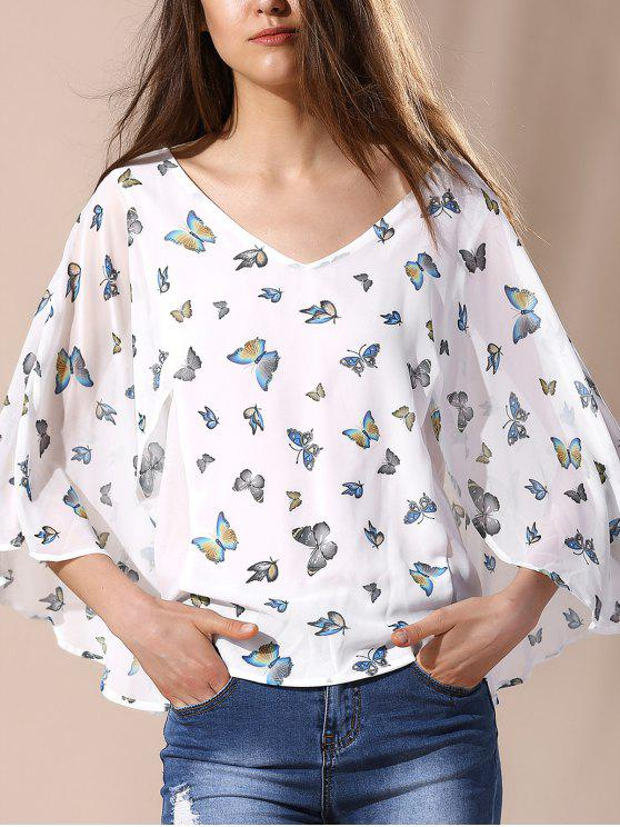 sale Elegant Butterfly Printing  Blouse - MILK WHITE S