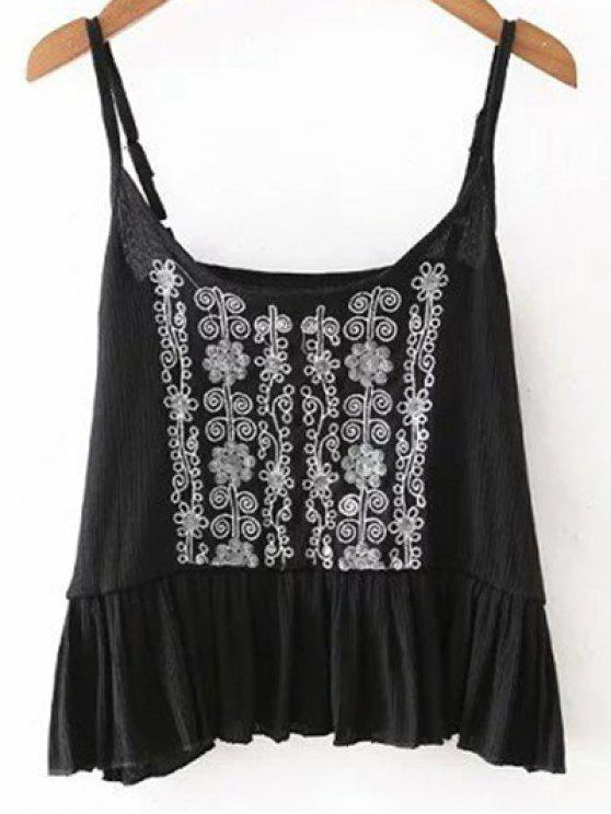 b7a1f550500a65 31% OFF  2019 Embroidery Ruffles Cami Tank Top In BLACK