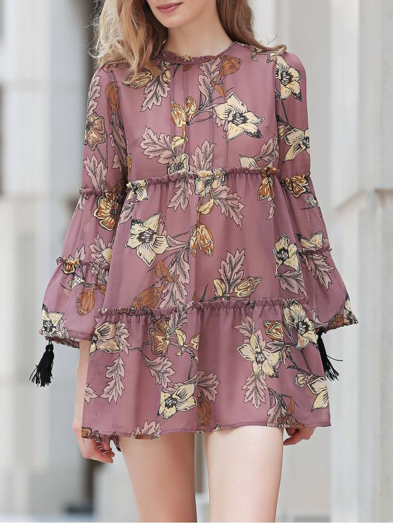 latest Printed Round Collar Long Sleeve Loose Dress - DUN M