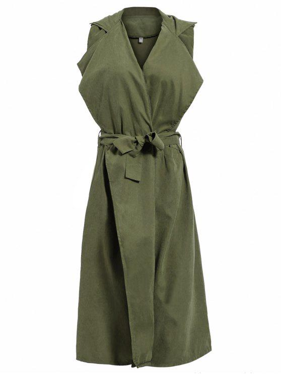 best Lapel Belted Overlay Waistcoat - ARMY GREEN M