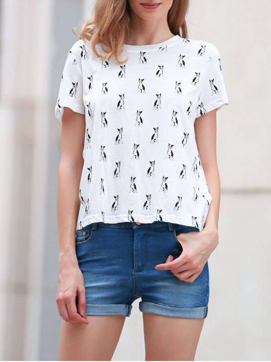 sale Full Kitten Print Round Neck Short Sleeve T-Shirt - WHITE M