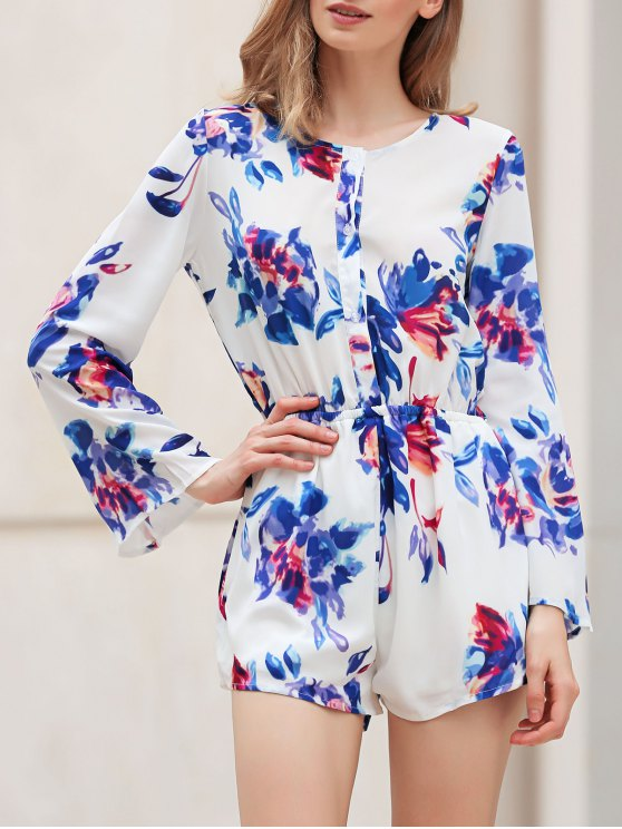 ladies V-Neck Flower Print Long Sleeve Romper - WHITE 2XL
