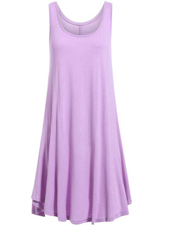 Dobladillo irregular Vestido de tirantes con cuello redondo - Púrpura S