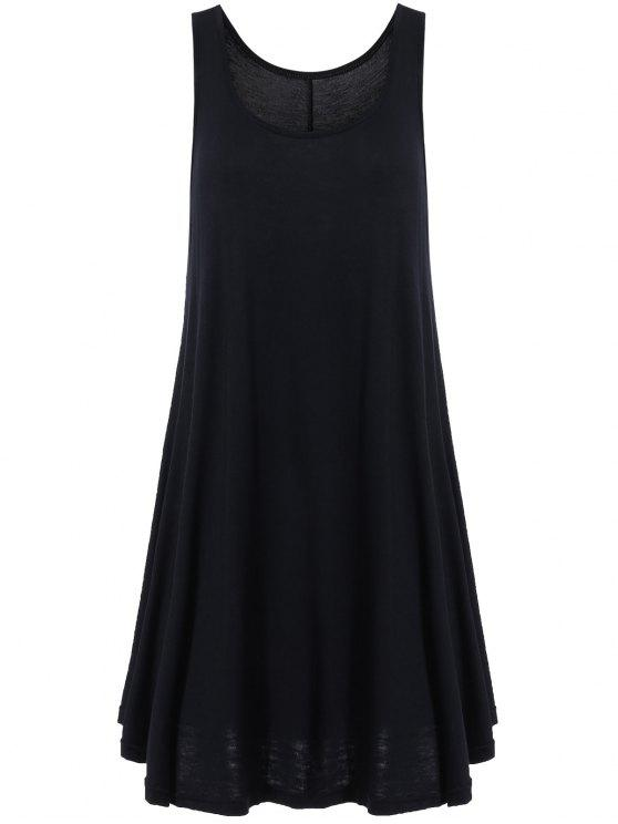 Dobladillo irregular Vestido de tirantes con cuello redondo - Negro S