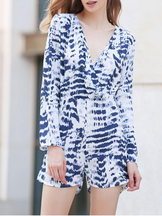 Teñido anudado con cuello en V manga larga Romper - Blanco XL