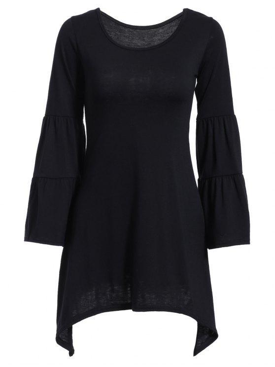 womens Solid Color Irregular HemRound Neck Flare Sleeve  Dress - BLACK S