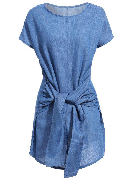 latest Solid Color Tied Round Neck Bat-Wing Sleeve Denim Dress - DEEP BLUE L