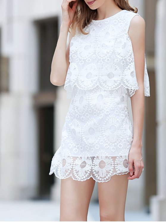 best Cold Shoulder Flouncing Lace Overlay Dress - WHITE M