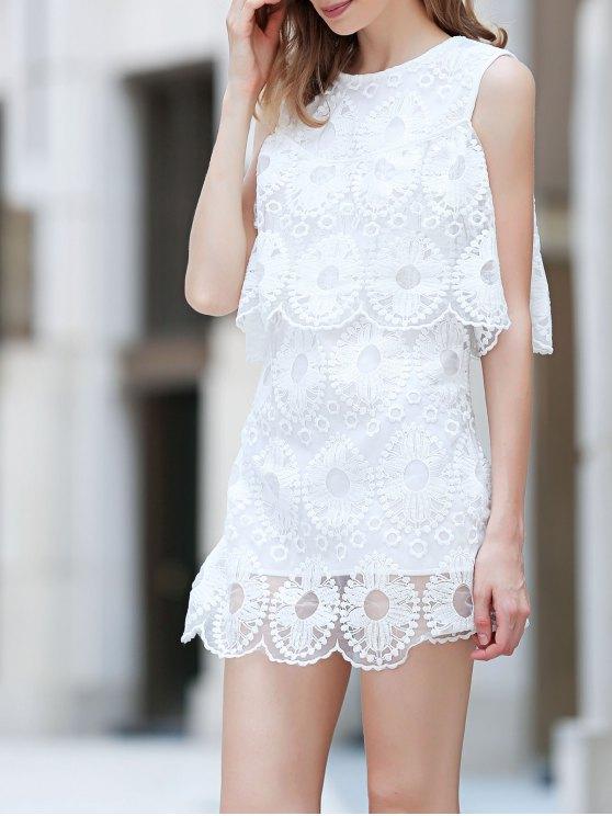 فستان المخرمات المكسرة بحاشية ورق اللوتس وعاتق عار - أبيض M