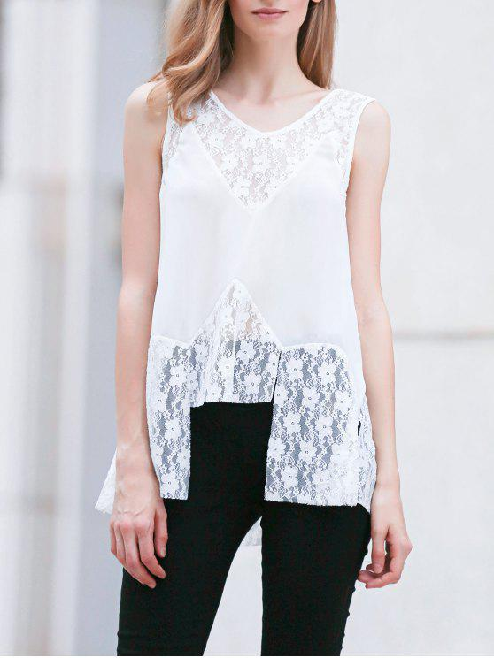 fashion Lace Splice V Neck Sleeveless White Blouse - WHITE M