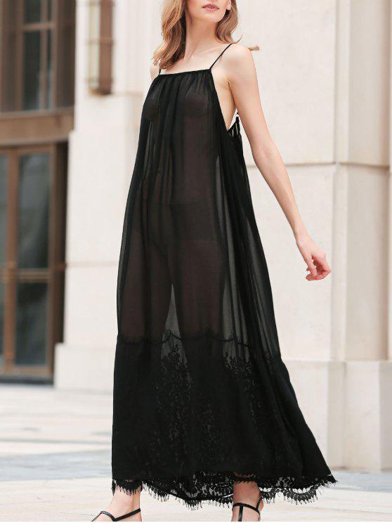Lace Panel Cami See Through Maxi Dress Black