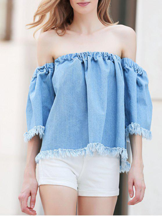 outfits Blue Denim Off The Shoulder 3/4 Sleeve Blouse - BLUE M