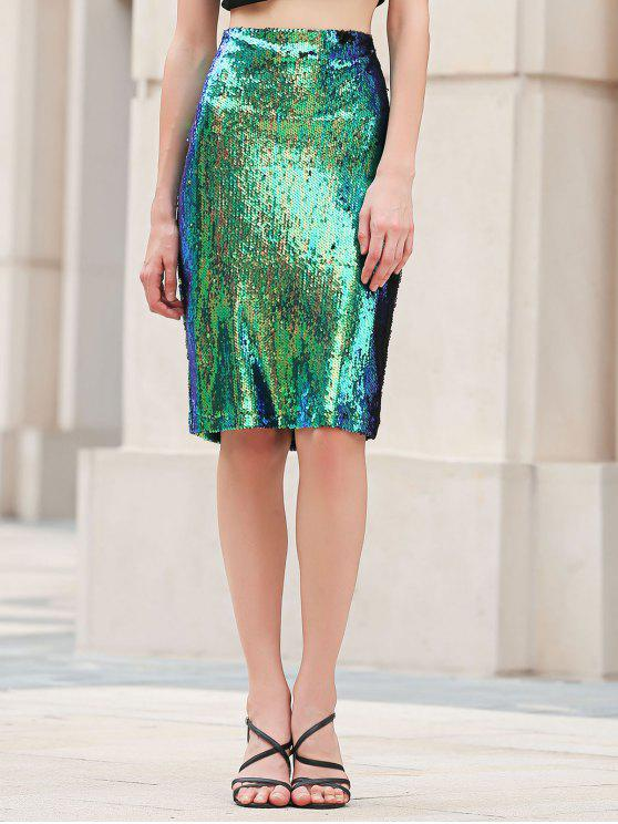 fashion Bodycon High Waisted Sequins Skirt - GREEN L