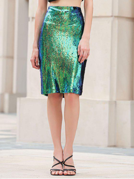 BODYCON de las lentejuelas de la falda de talle alto - Verde L