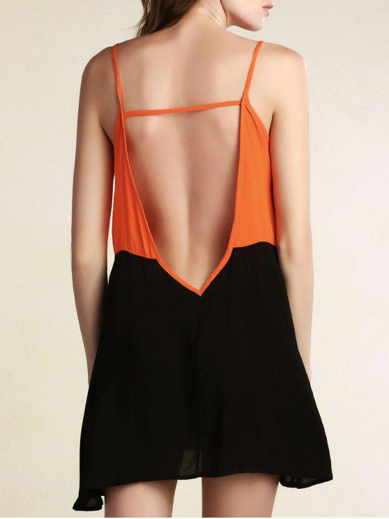 lady Color Block Backless Cami Sleeveless Dress - BLACK M