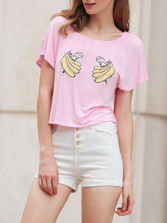 Banana Print Short Sleeve Cropped T-Shirt - Pink L