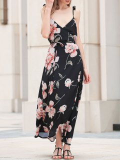 Spaghetti Strap Low Cut Floral Maxi Dress - Black L