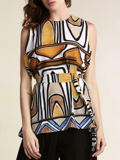 Geometric Pattern Round Neck Sleeveless Dress - S