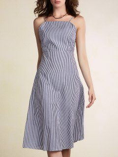Striped Spaghetti Straps Backless Dress - Light Blue S