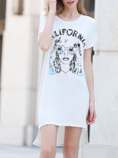 Printed Casual Round Collar Short Sleeve Dress - White 2xl