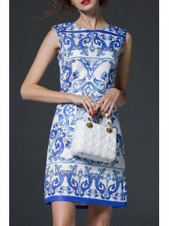 Blue And White Porcelain Print Dress - Blue And White S