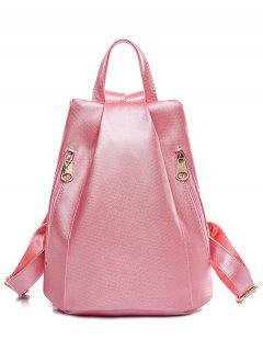 Double Zips Solid Color PU Leather Satchel - Pink