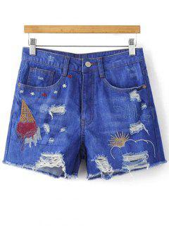 Bordado Pantalones Cortos De Mezclilla Rasgado - Azul S
