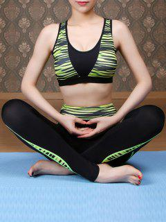 Printed Sports Bra And Skinny Pants Yoga Suit - Green L