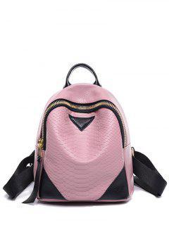 Embossing Zip PU Leather Satchel - Pink