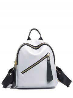 PU Leather Zipper Solid Color Satchel - Light Gray