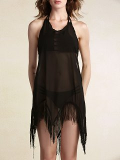 Backless Halter Fringes Spliced Cover Up - Black