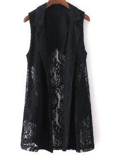 Lace Lapel Collar Waistcoat - Black S