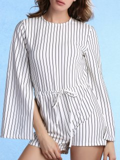 Stripe Col Rond Manches Longues Manches Fendues Romper - Blanc