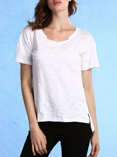 T-shirt à Manches Courtes Haut Bas Hem Col Rond - Blanc L