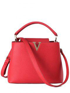 Letter V Solid Color Tote Bag - Red