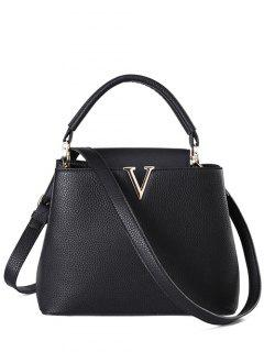 Letter V Solid Color Tote Bag - Black