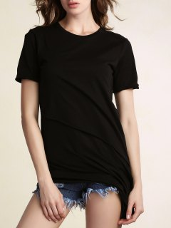 Asymmetrical Black T-Shirt - Black S