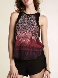 Printed Round Collar Chiffon Tank Top - Black L