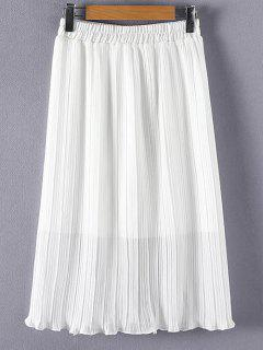 Pleated Solid Color Elastic Waist Skirt - White 2xl