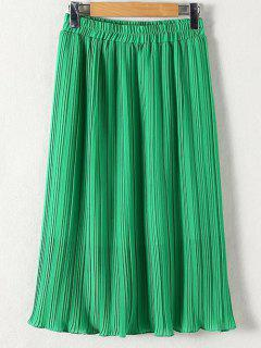 Pleated Solid Color Elastic Waist Skirt - Green Xl