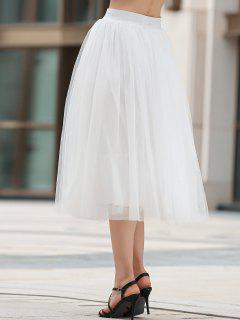Mesh Solid Color A Line Skirt - White M