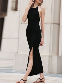 Black Side Slit Halter Maxi Dress - Black S