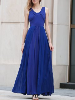Blue Pleated V Neck Sleeveless Maxi Dress - Blue S