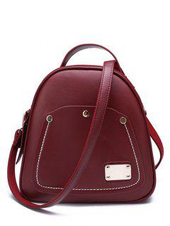 Stitching Metal Solid Colour Satchel - Wine Red