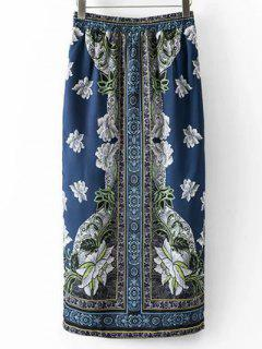 Ethnic Print High Waist Side Slit Skirt - S