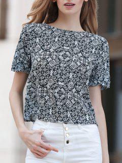 Imprimer Col Rond Manches Courtes En Mousseline De Soie T-shirt - Blanc Et Noir 2xl