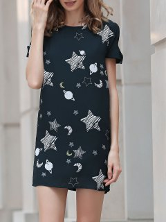 Cold Shoulder Round Neck Sky Print Dress - Black 3xl